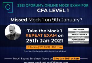 CFA LEVEL 1 MOCK EXMAS | MOCK1 (Repeat) ON 25th JAN 2021 | LIMITED SEATS