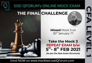 SSEI QForum | CFA Level 1 Mock 3 (Repeat Exam) 5th-8th Feb 2021 | Enrolments Now Open | Take the Final Challenge